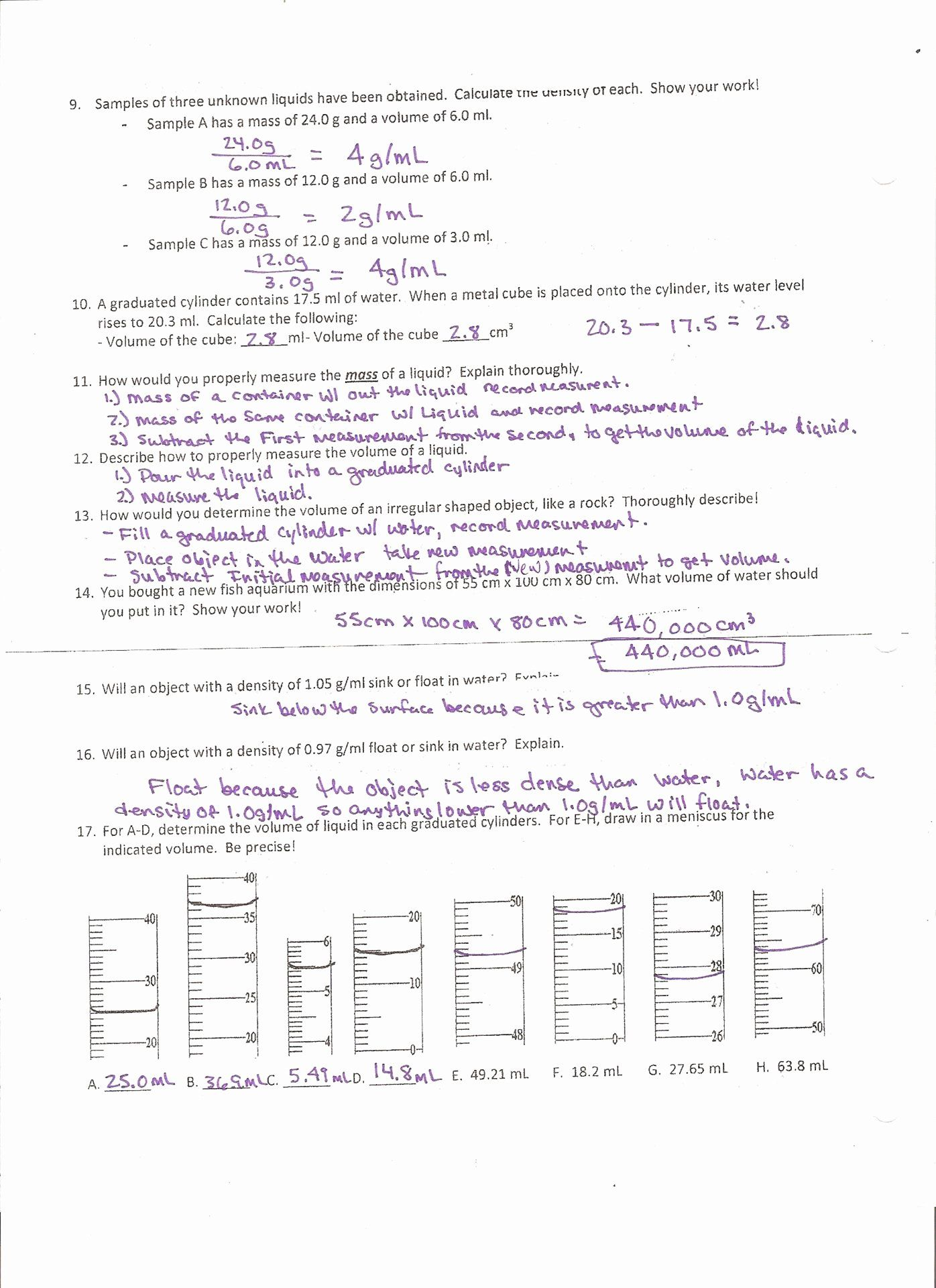 Density Calculations Worksheet Answers Fresh Stoichiometry