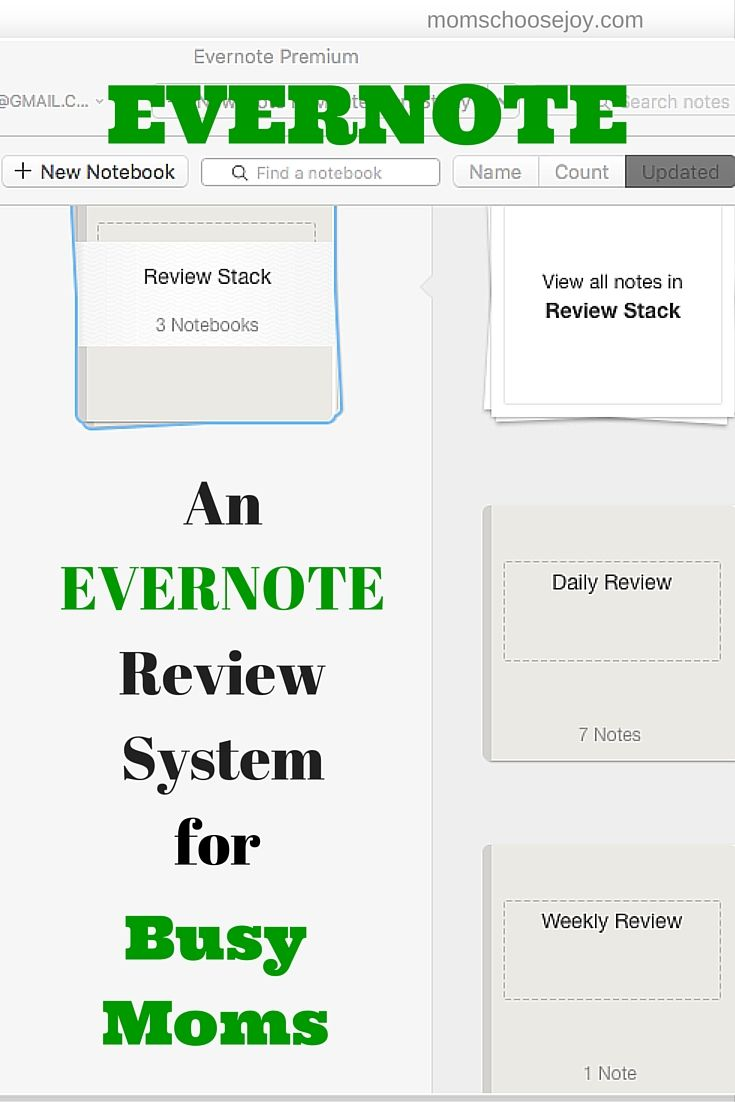 Busy Moms - Learn to ORGANIZE your LIFE with EVERNOTE. This is an 8-part series on creating a review system in Evernote.