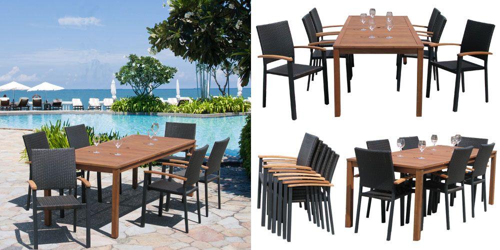 Salon de jardin Amorgos  table 2m14 + 6 fauteuils Parasol de