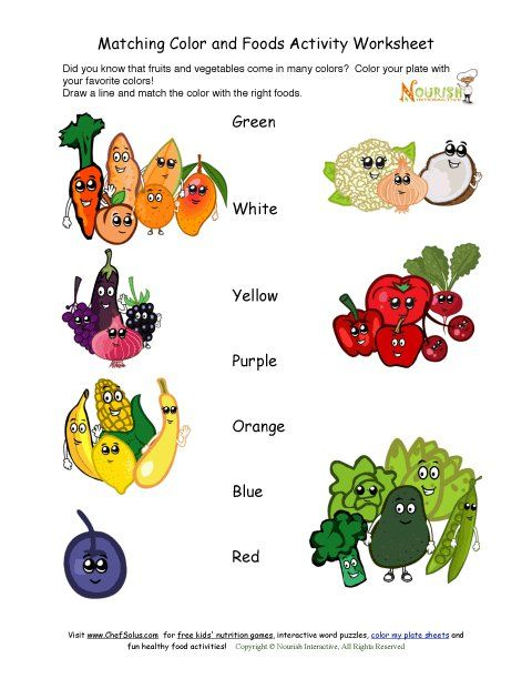 Match The Color With The Foods Activity Food Activities Kids Nutrition Nutrition