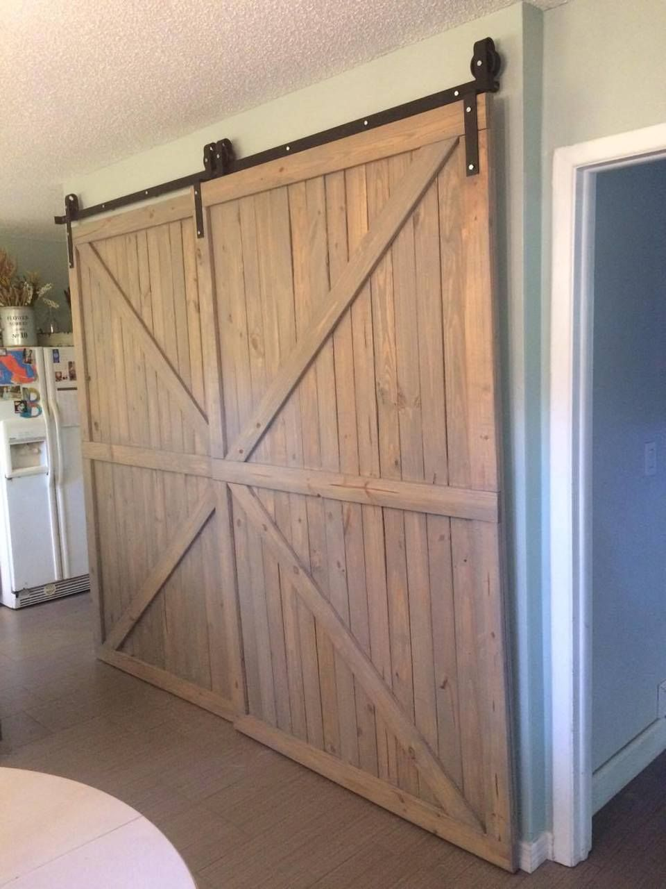 Single Track By Pass System For Two Doors On One Track Bypass Barn Door Diy Barn Door Barn Door