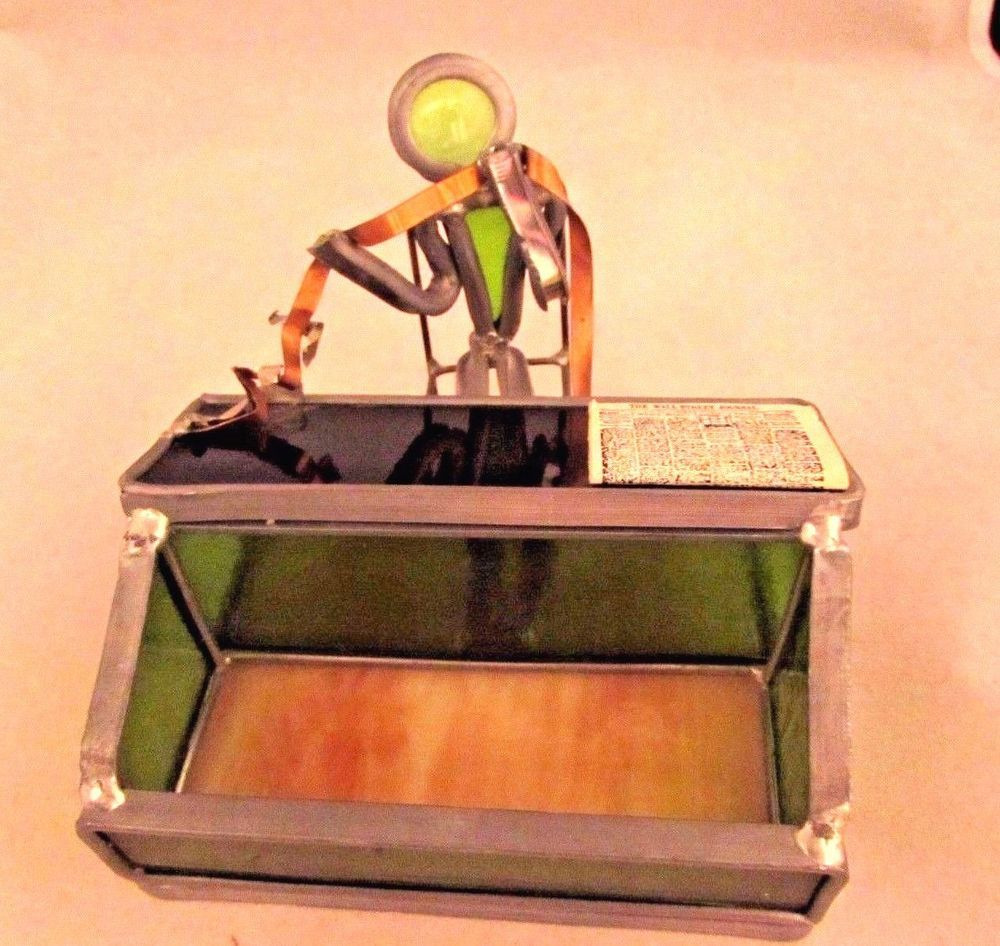 Stained Glass Metal Hand Made Stock Market Figurine Business Card Holder 4 5 Newdimensioninc