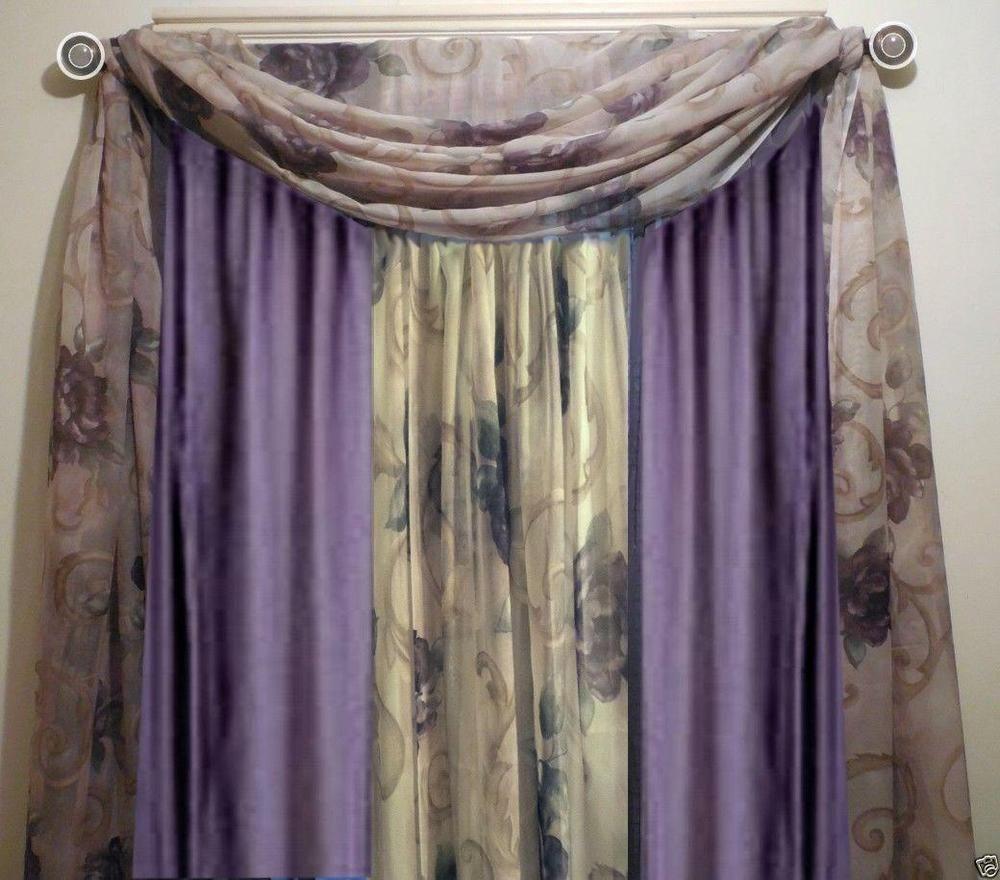 Croscill 2 Chambord Cassis Amethyst Rose Floral Sheer Curtain Panels 60x84 Each #Croscill # ...