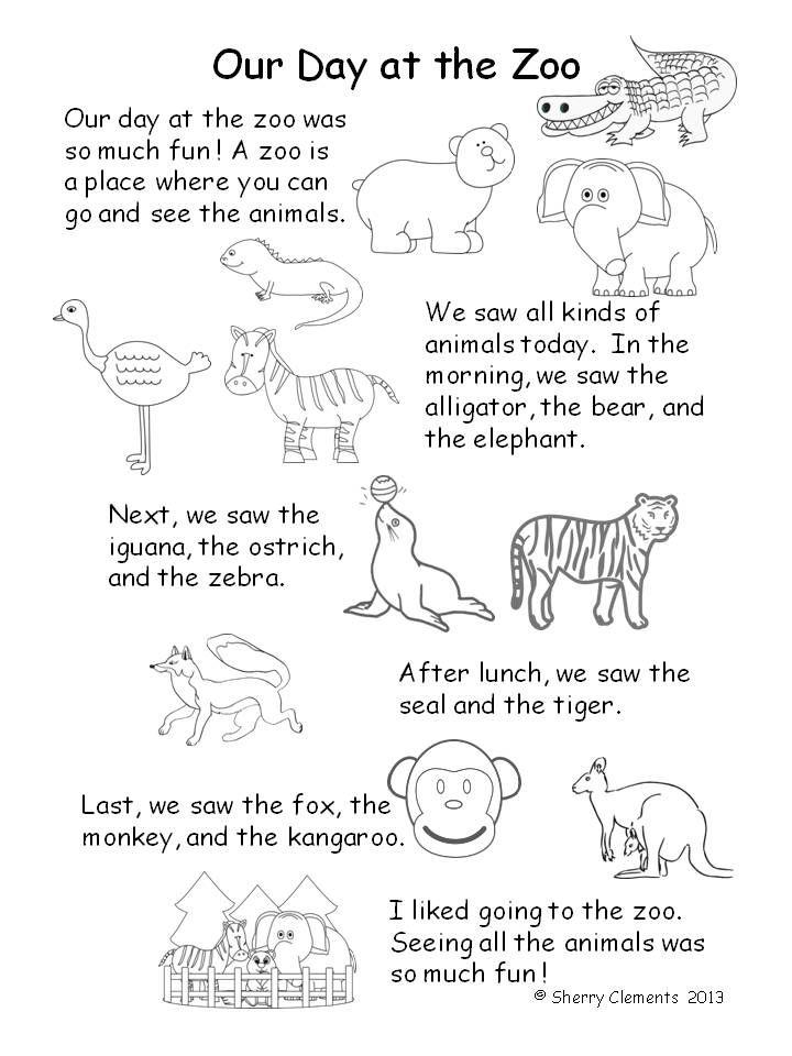 Zoo Animals Kindergarten Distance Learning Kindergarten Reading Reading Comprehension Passages Zoo Animals