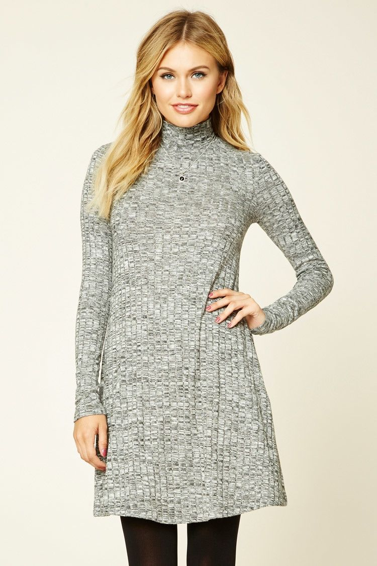 32e783b285c1 Forever 21 Contemporary - A marled ribbed knit swing dress featuring a mock  neckline and long sleeves.