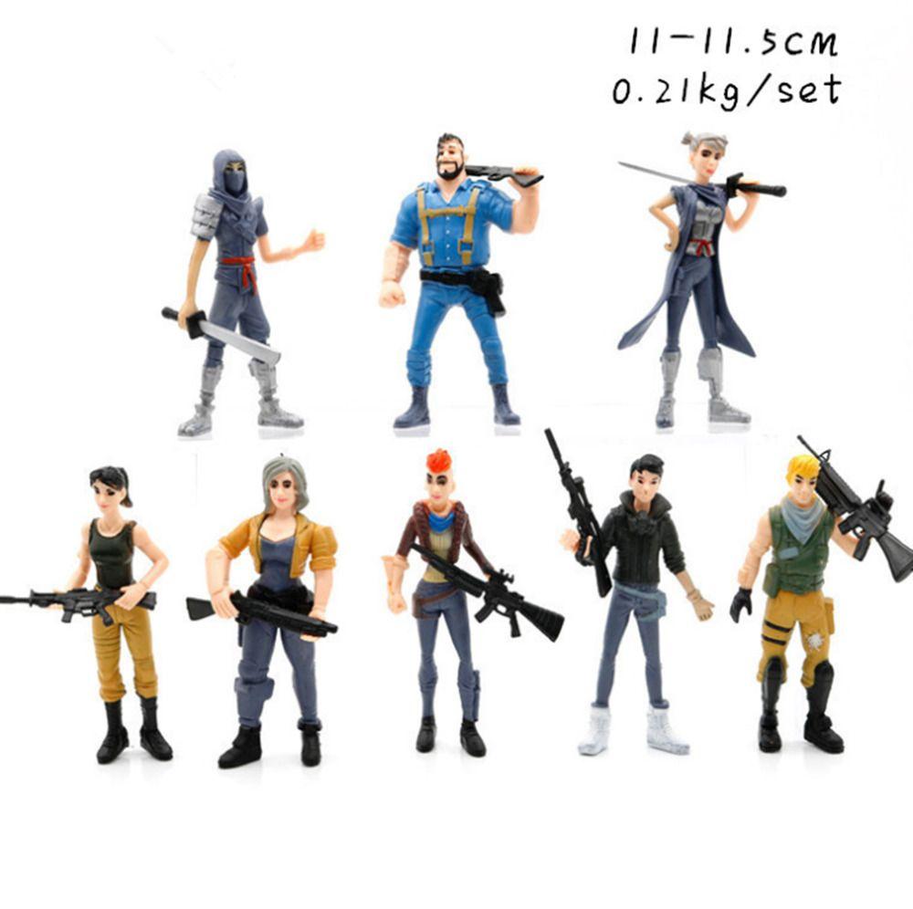 Xmas Gift 16 Pcs Fortnite Action Figures Skull Trooper Ninja Outlander Commando Fortnite Action Figures Character Modeling