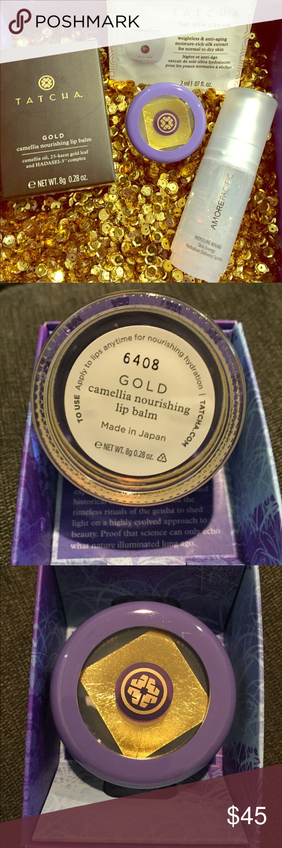 Tatcha Gold Camellia Lip Balm + Amorepacific mist New/unswatched FULL SIZE Tatcha Gold Camellia Nourishing Lip balm. This luxurious lip balm is encased in a glass jar & adorned with a thin sheet of 24-karat gold that leaves your lips soft! Comes with TATCHA Silk Cream sample packet (a full size of this cream is $120+!)  & also comes with a 30mL skin loving Amore Pacific Moisture Bound Hydration Spray. This travel spray gives skin an extra boost of hydration when needed ⭐️ Lip balm comes with box - Mist is brand new & unsprayed with no box ⭐️ Sephora Makeup