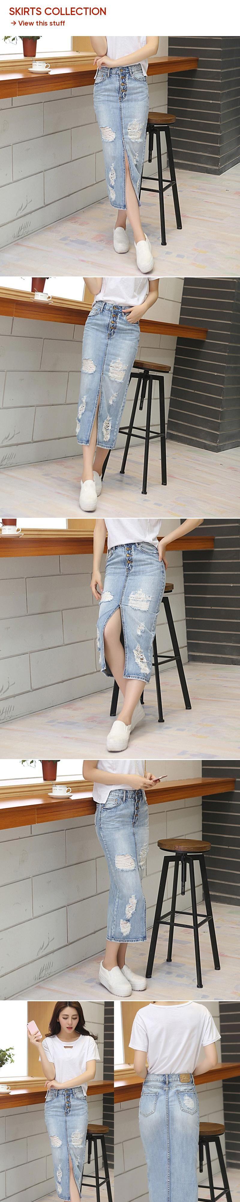 4c3803acf 2018 Summer Autumn Women Slim Long Denim Skirt Casual Hole Maxi Jean Skirt  Vintage High waist Hem Split Pencil Skirts Streetwear