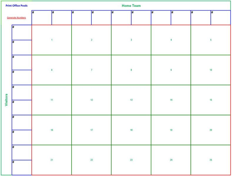 Printable 25 Square Football Pool Sheet Super Bowl Block Template Landscape
