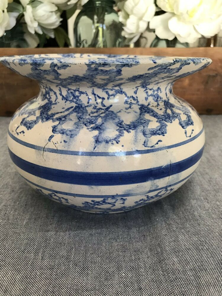 Antique Blue & White Stoneware Tobacco Spittoon Cuspidor