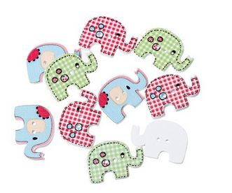 Oh, goodness!  Wooden Elephant Buttons.  How cute!