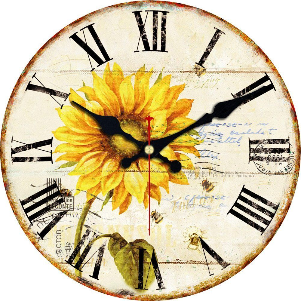 ShuaXin 12inch Vintage Wooden Wall Clocks Roman Numeral Design ...