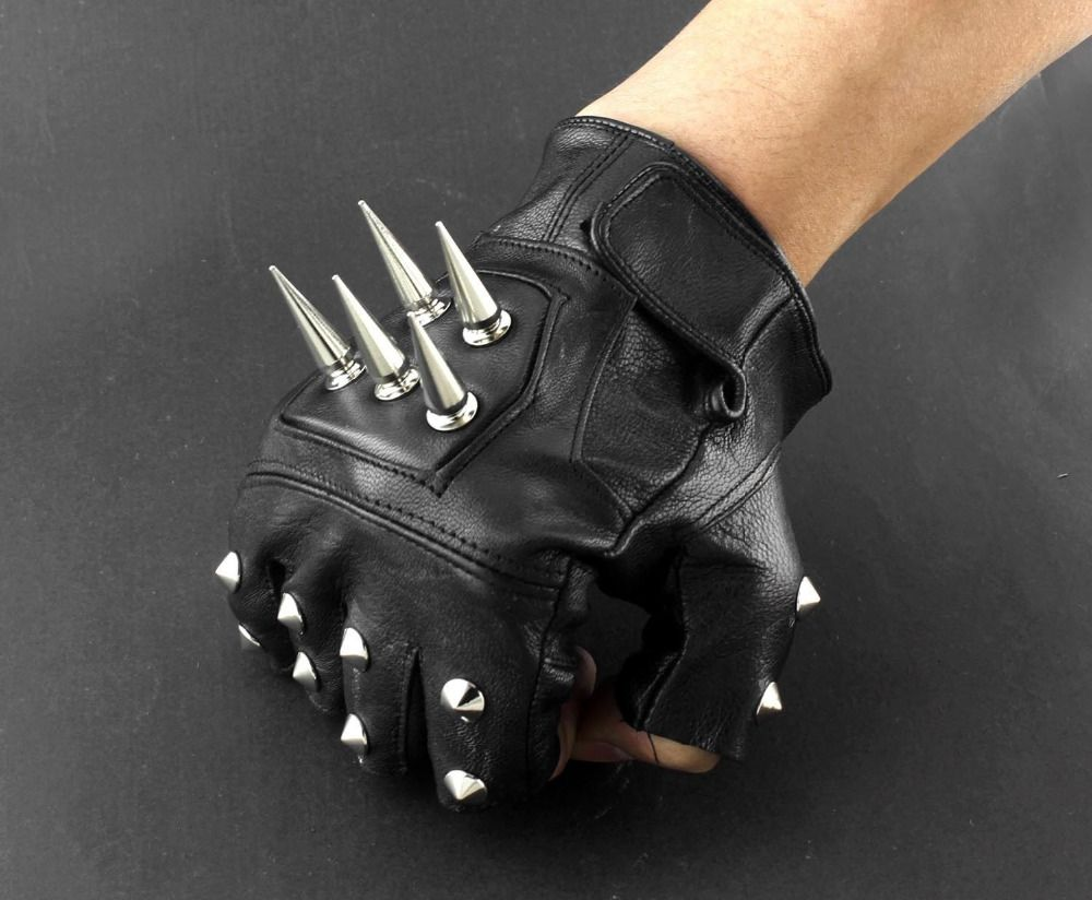 Men/'s Long Leather Gauntlet Glove w// Snap Closure and Extra Wide Cuff Opening