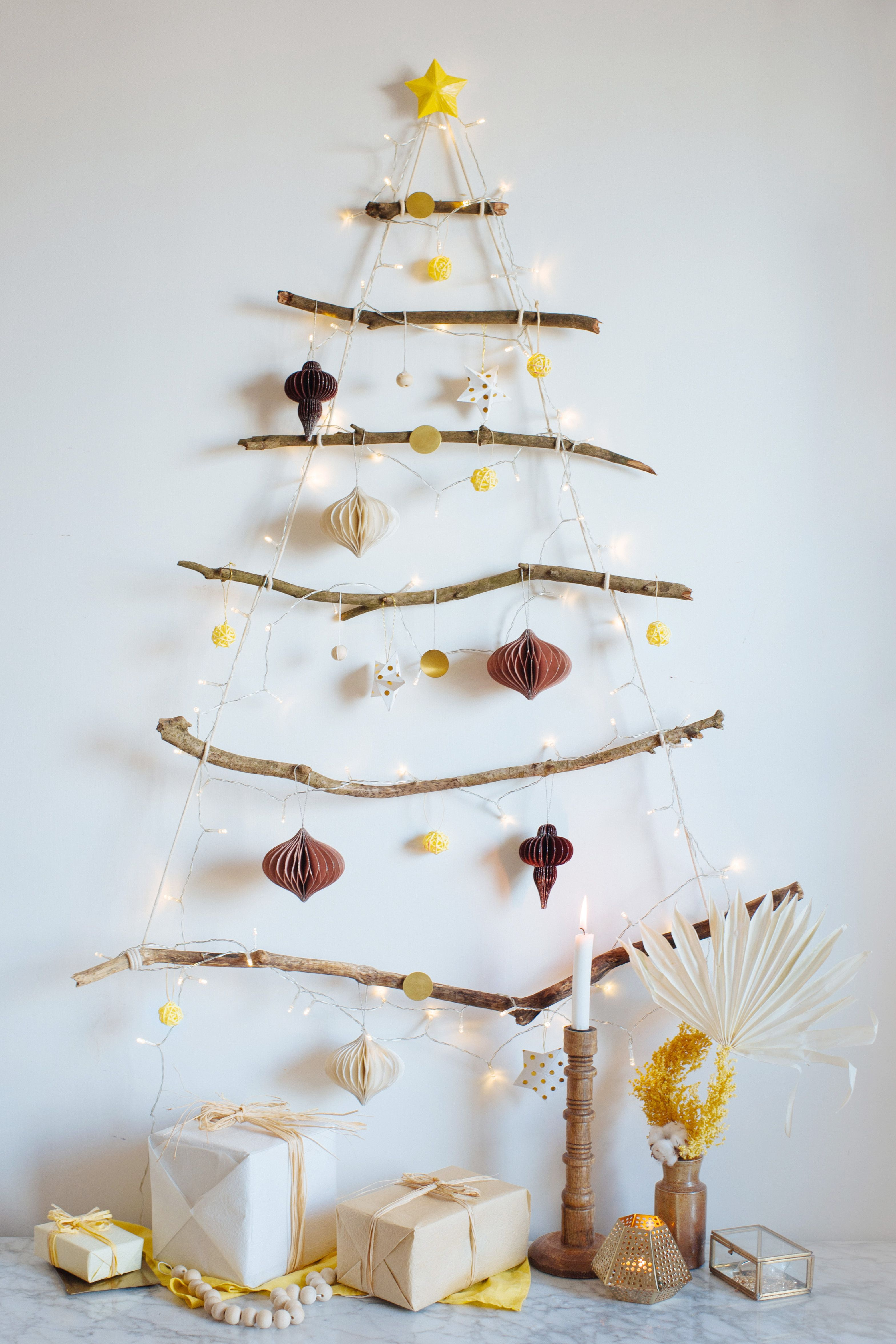 Diy Hanging Branch Christmas Tree A Pair A Spare Diy Christmas Tree Christmas Diy Wall Christmas Tree