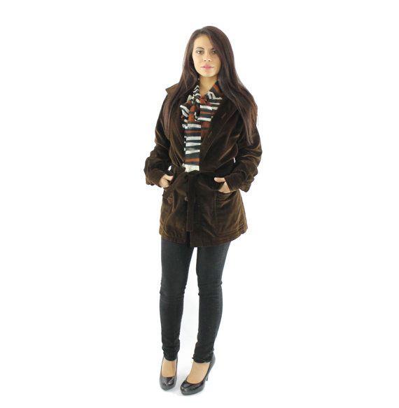 70s CHRISTIAN DIOR Trench Coat Jacket Brown Velvet  $145, Women's vintage designer outerwear fashion