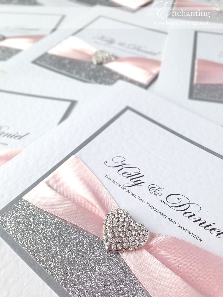Pale Pink And Silver Wedding Invitations The Cinderella Collection Clic Fold Invite Featuring Glitter Paper Ribbon