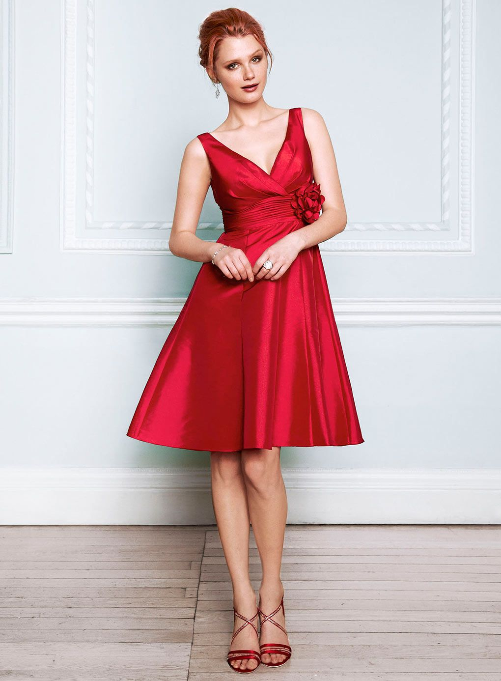 Cecilia red taffeta bridesmaid dress nix the flower my wedding