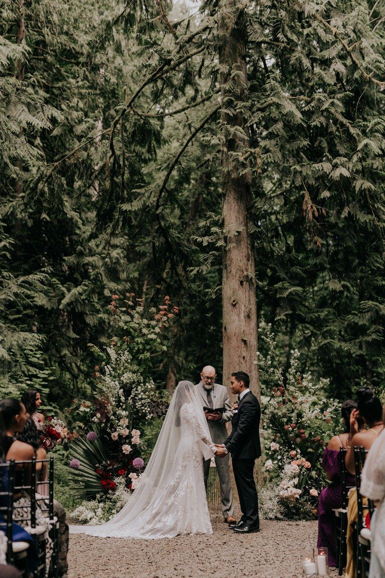One Couple's Romantic Woodland Wedding in Oregon Forest