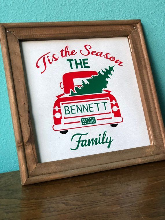 Custom Christmas Sign  Rustic  Holidays  Personalized  Wall  Decor  Canvas  Vinyl  Festive  Celebrate  Decorate  Christmas Tree is part of Wall decor Canvas - Rustic  Tis the Season  Christmas sign, customized with your family's last name and year you were married  Frame measures 10 x10  and is stained with brown acrylic paint  Canvas is professionally pressed with heat transfer vinyl  Back of frame has canvas tape covering the staples, and includes an attached wall hanger  Could fit nicely on a bookshelf as well! This rustic customized Christmas sign ships for $7 75 USPS Priority Mail, 13 Day  Ordering more than one sign  Convo me before ordering so I can set up a custom listing for you! There may be a discount on multiple signs, and I will need to give you an updated quote on shipping