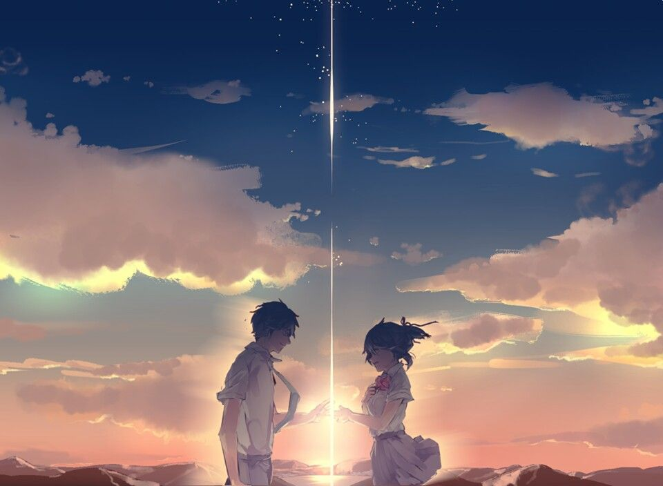 Couple Taki And Mitsuha Beautiful Anime Movies Your Name Silent