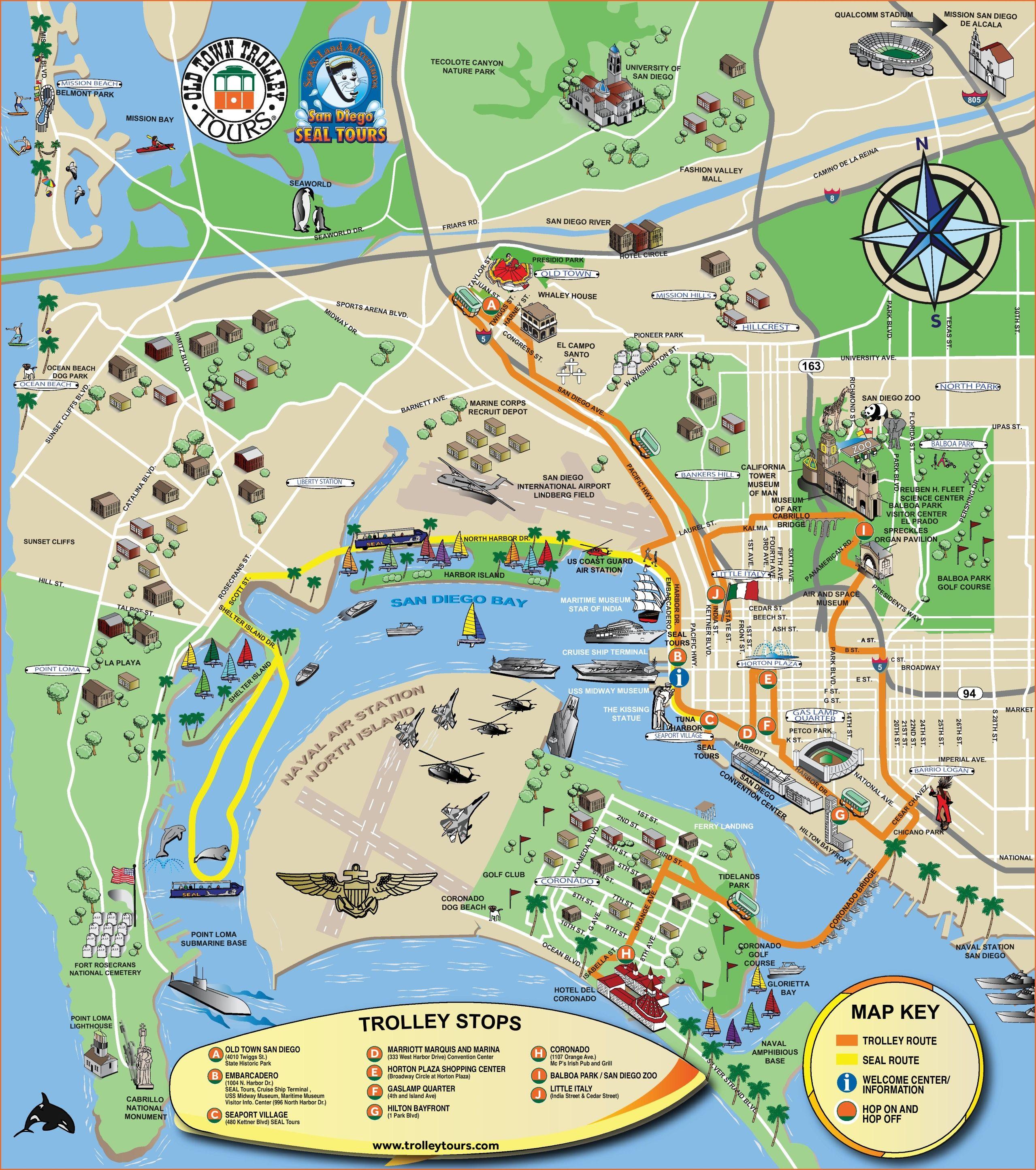 San Diego tourist attractions map | San Diego trip ...