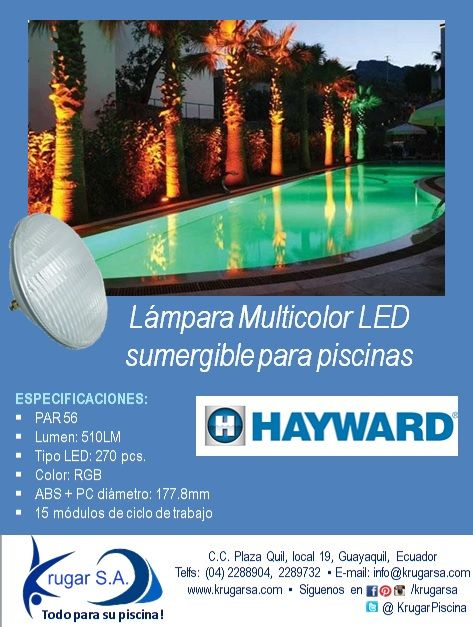 Lámpara #Multicolor #LED sumergible para #piscinas  ESPECIFICACIONES: PAR 56 Lumen: 510LM Tipo LED: 270 pcs. Color: RGB ABS + PC diámetro: 177.8mm 15 módulos de ciclo de trabajo  #ecuador