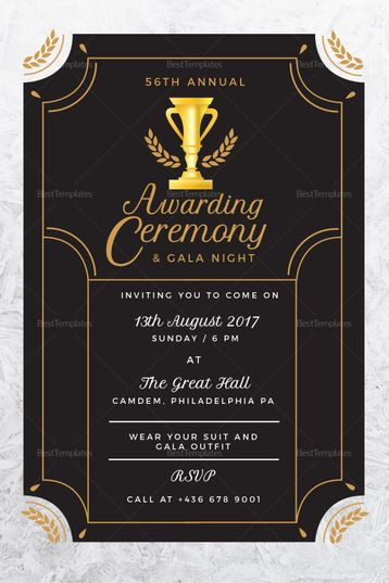 Annual Award Ceremony Invitation Template Design Flyer