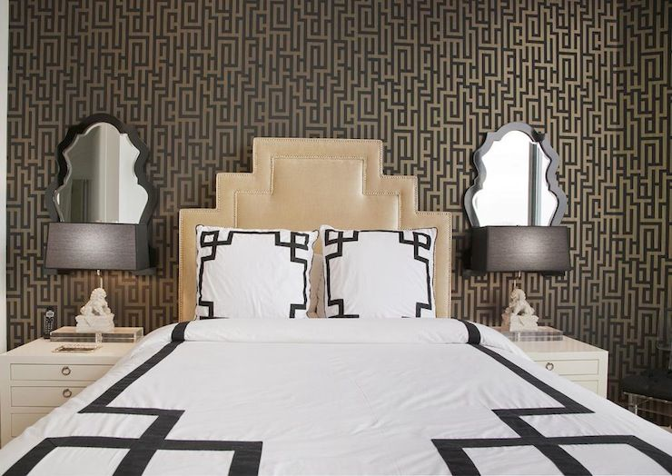 Best Gorgeous Bedroom Features Black And Gold Wallpaper Graham 400 x 300