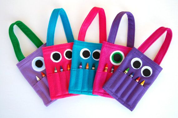 Custom Order 5 Tiny Monster Coloring bags by PuddleWonderfulShop