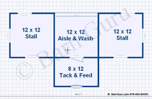 Barn plans 2 stall horse barn design floor plan barn for Horse stable blueprints