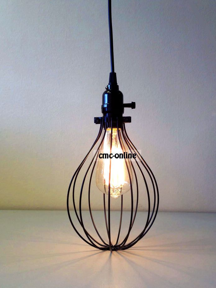 Vintage Edison Metal Cage Hanging Lamp Set Balloon Pendant Light Chandelier