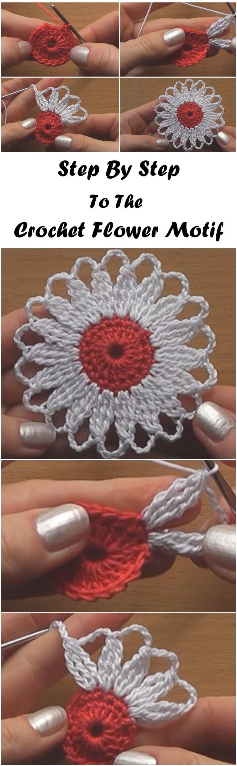 Häkelblumenmotiv Schritt für Schritt - Tutorial | Stricken Site #crochetflowers