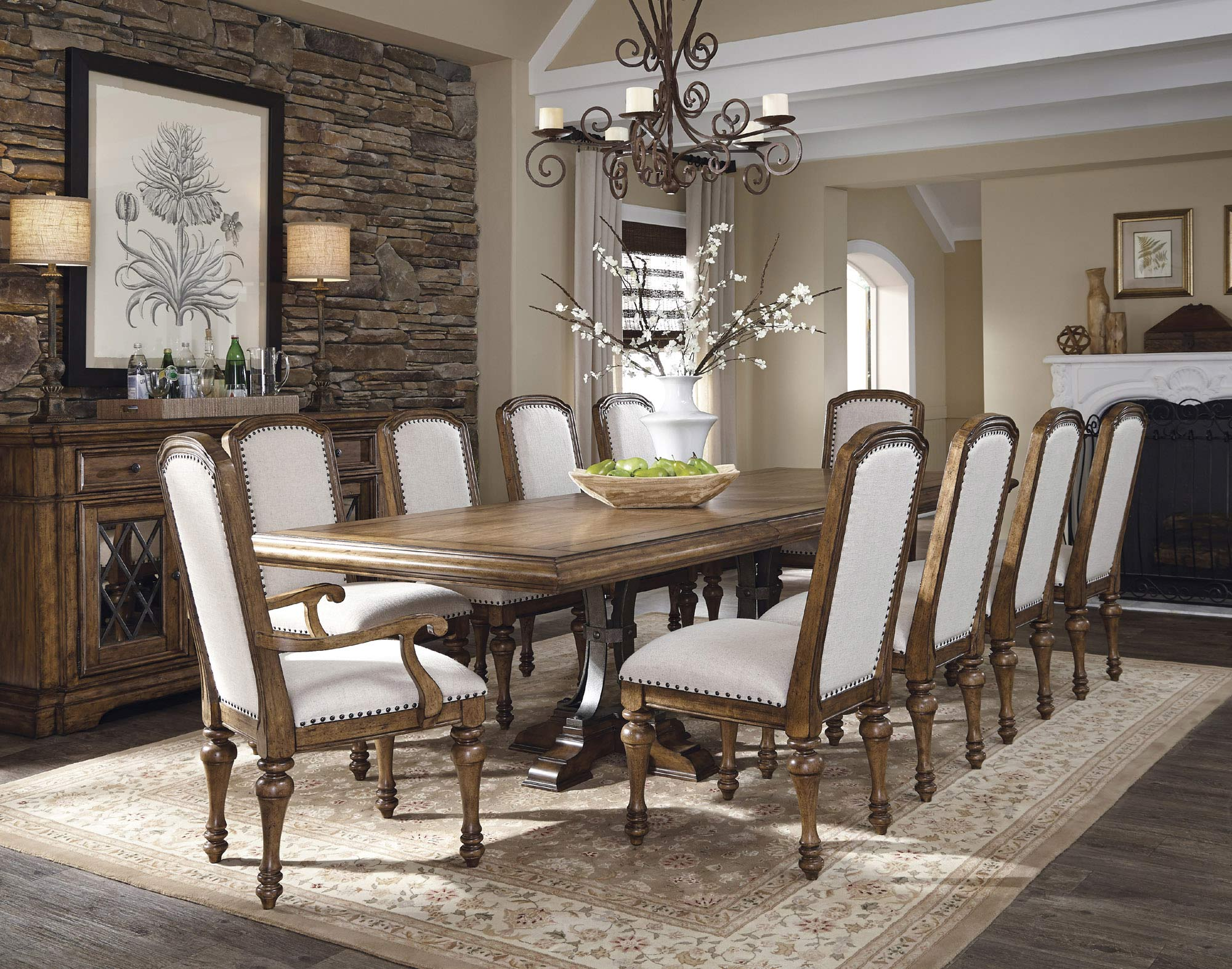 Reddington Rectangular Wood Top Double Pedestal Dining Table In