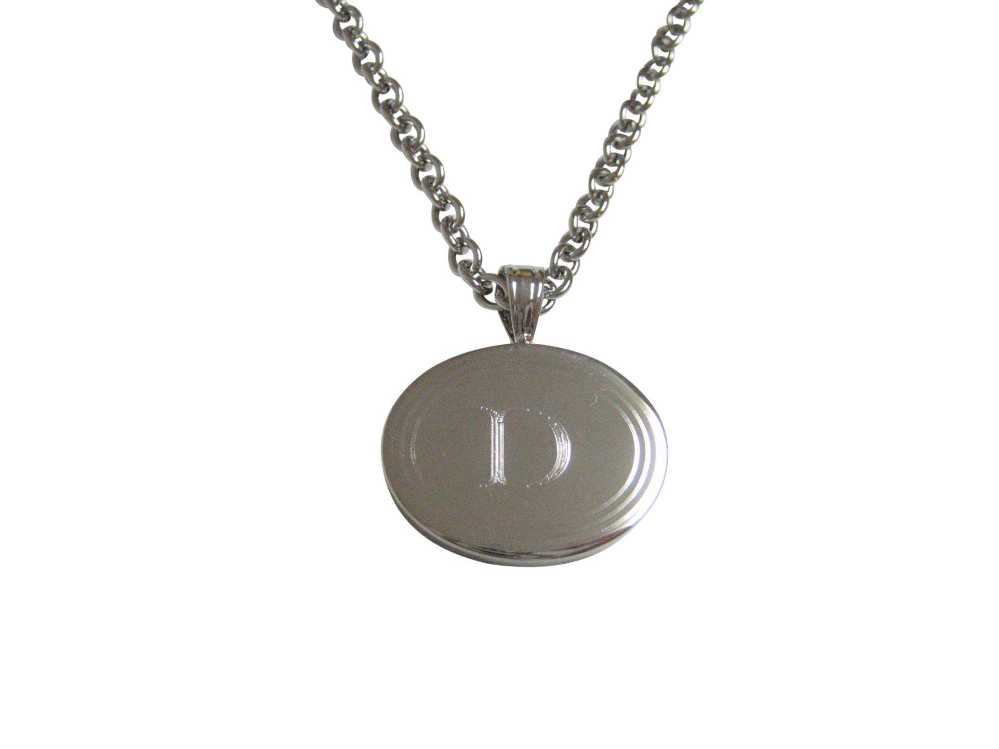 Kiola Designs Gold Toned Etched Oval Letter V Monogram Pendant Necklace
