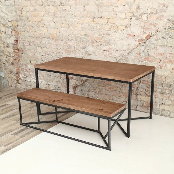 Tower Industrial Style Solid Wooden Metal Dining Table