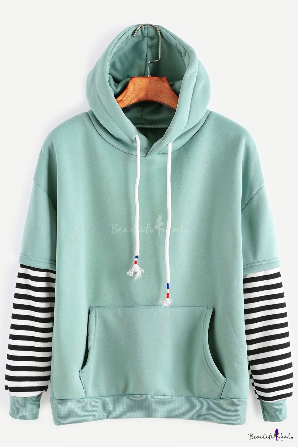 18721493 Stylish Striped Layered Long Sleeves Color Block Long Sleeves Pullover  Hoodie with Pocket