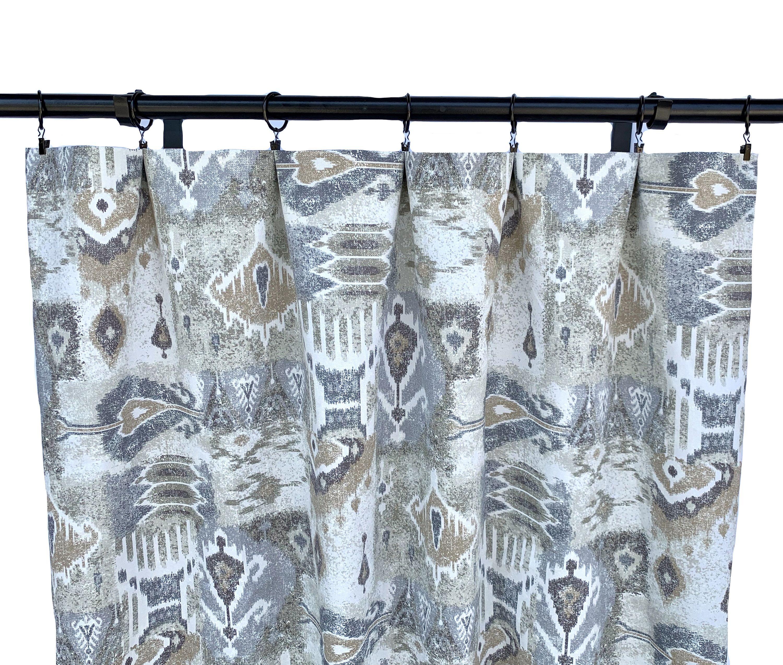 Magnolia Curtains Ikat Curtains 2 Curtain Panels Grey And Tan