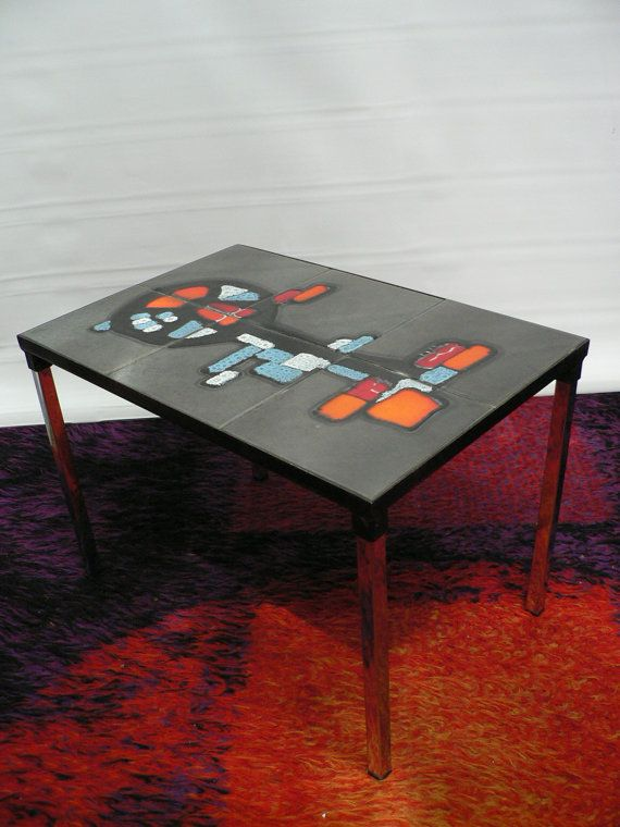 1960s Adri abstract expressionist ceramic coffee table 60s mid