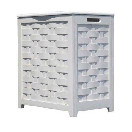 Oceanstar White Finished Rectangular Veneer Laundry Wood Hamper With Interior Bag Rhv0103w