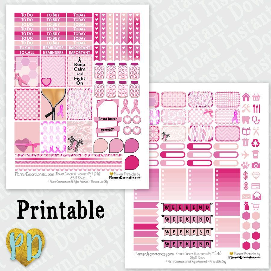 Breast cancer awareness printable planner stickers pink ribbon