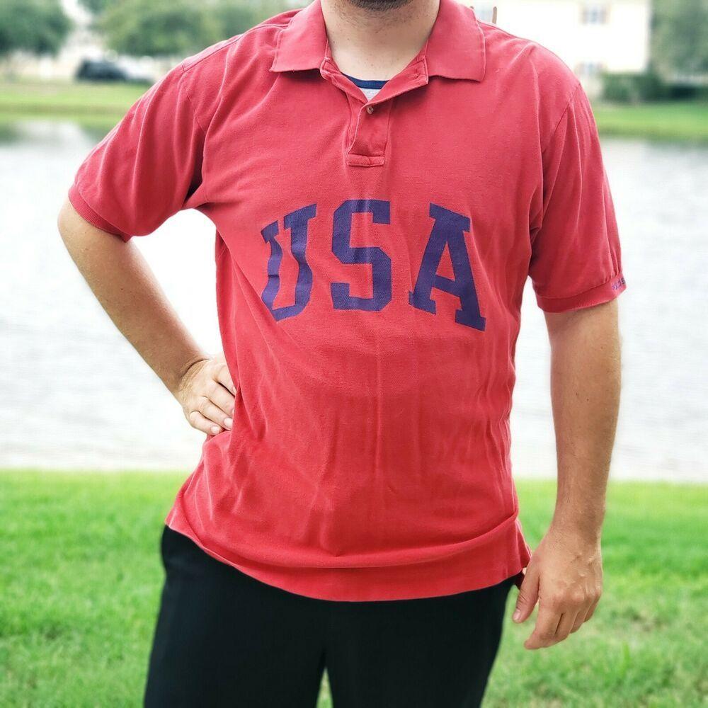 Vtg Ralph Lauren Polo Sport Rugby Shirt Mens L Olympics