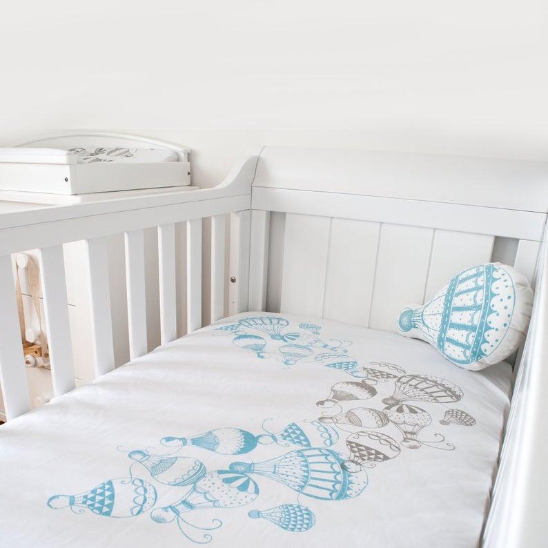 Hot air balloon nursery Crib Sheet organic baby bedding