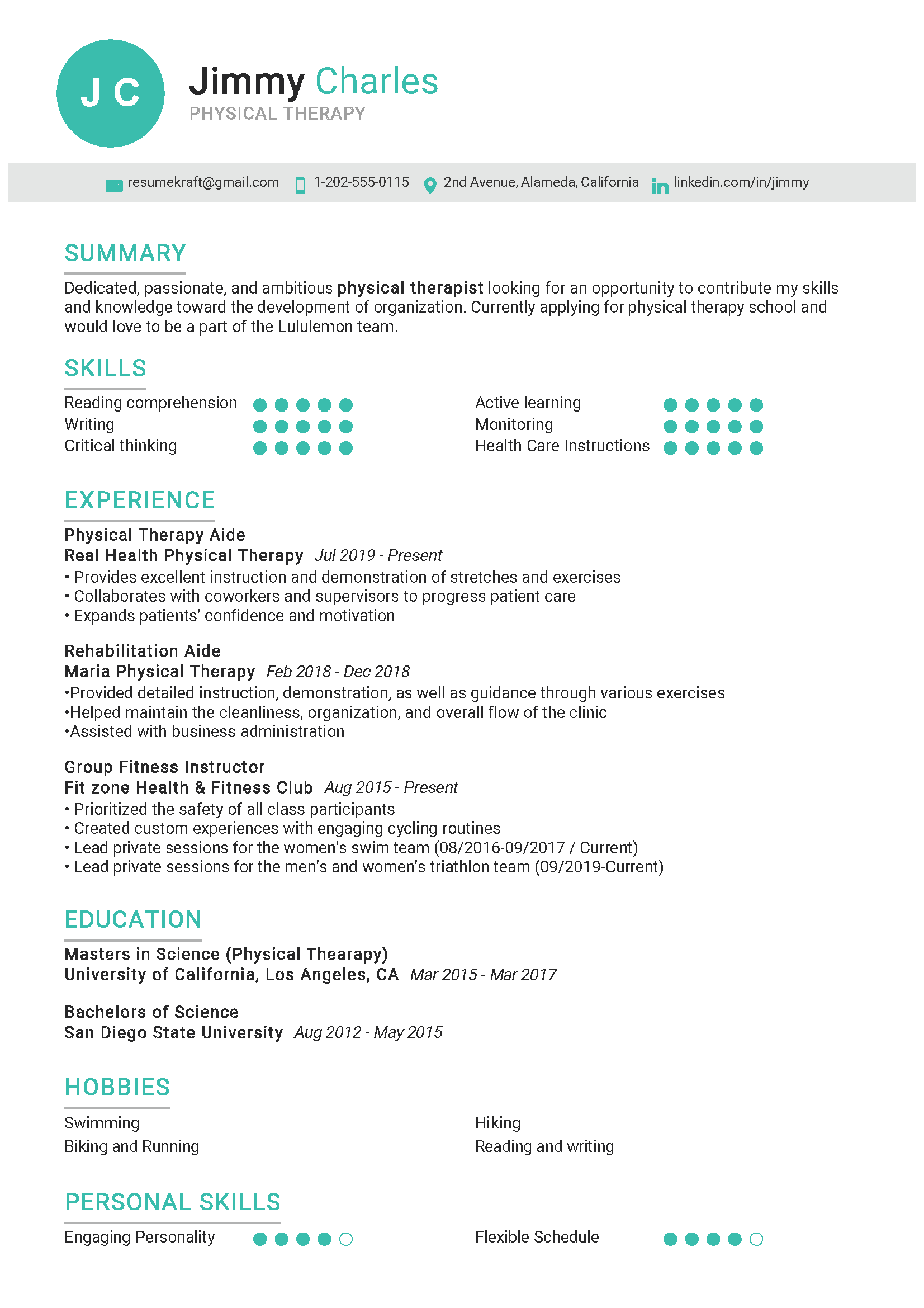 Physical Therapy Sample Resume in 2020 Best resume