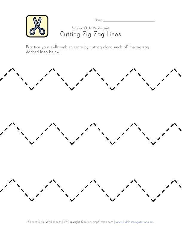 Cutting Practice Worksheet - Zig Zag Lines | Pre-K | Pinterest ...
