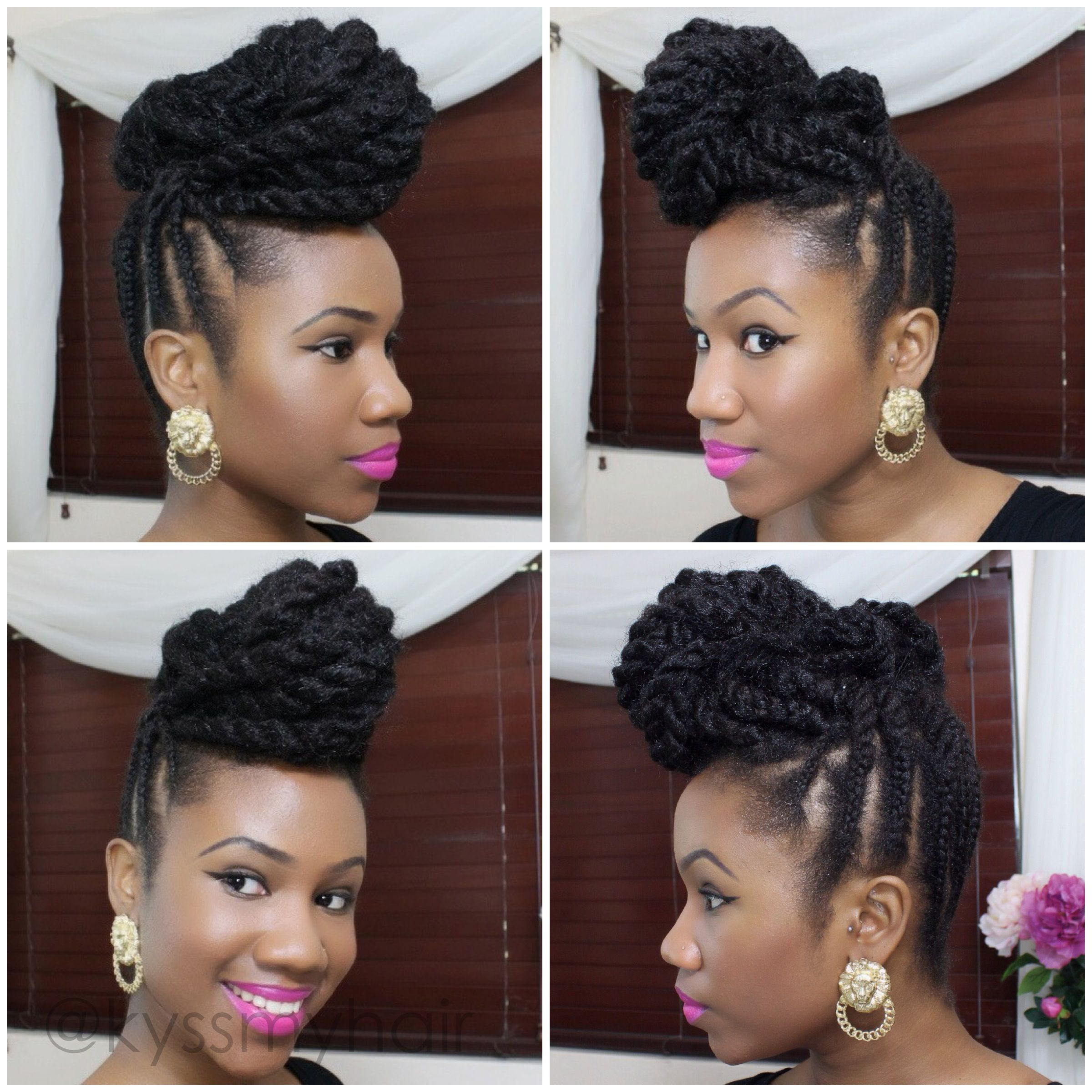 Braided Updo On Natural Hair Using Marley Hair Kyss My Hair Natural Hair Updo Hair Styles Braided Hairstyles Updo