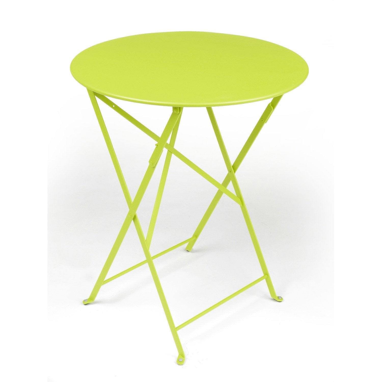 Table de jardin de repas FERMOB Bistro ronde verveine 2 ...