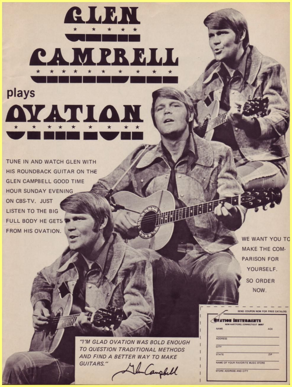 glen campbell plays ovation us ad all things acoustic guitar glen campbell musicals stars. Black Bedroom Furniture Sets. Home Design Ideas