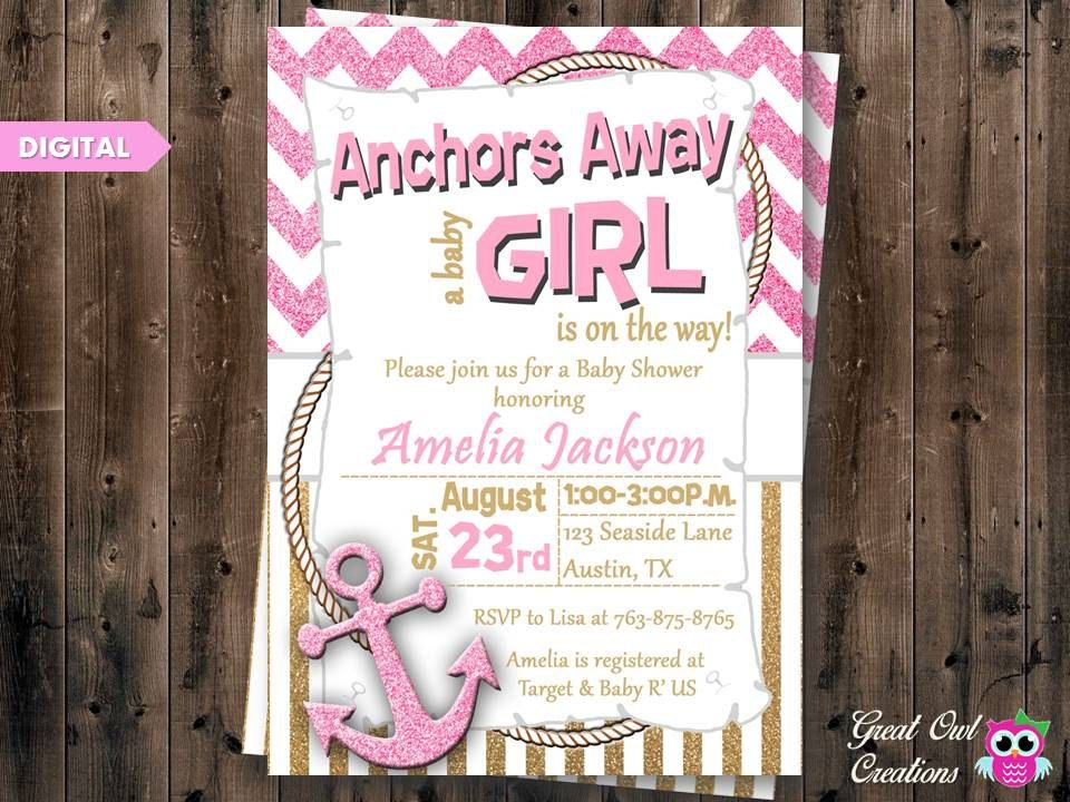 Anchor Baby Shower Invitations, Anchors Away Baby Shower, Nautical ...