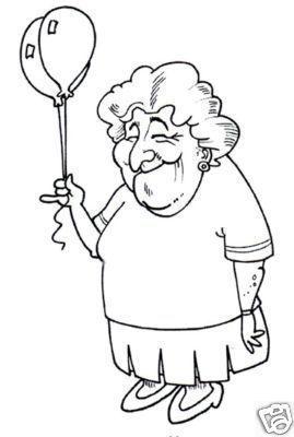 oud vrouwtje met ballon kleurplaten digitale stempels