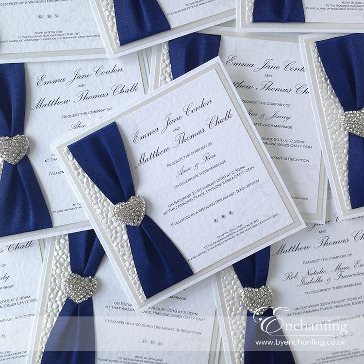 Navy Wedding Invite The Ariel Collection Luxury Flat Invitation